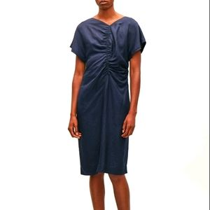 COS gathered navy linen dress with v-back 6